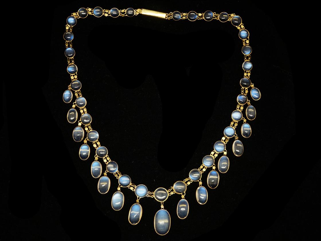 Edwardian 15ct Gold Moonstone Festoon Necklace
