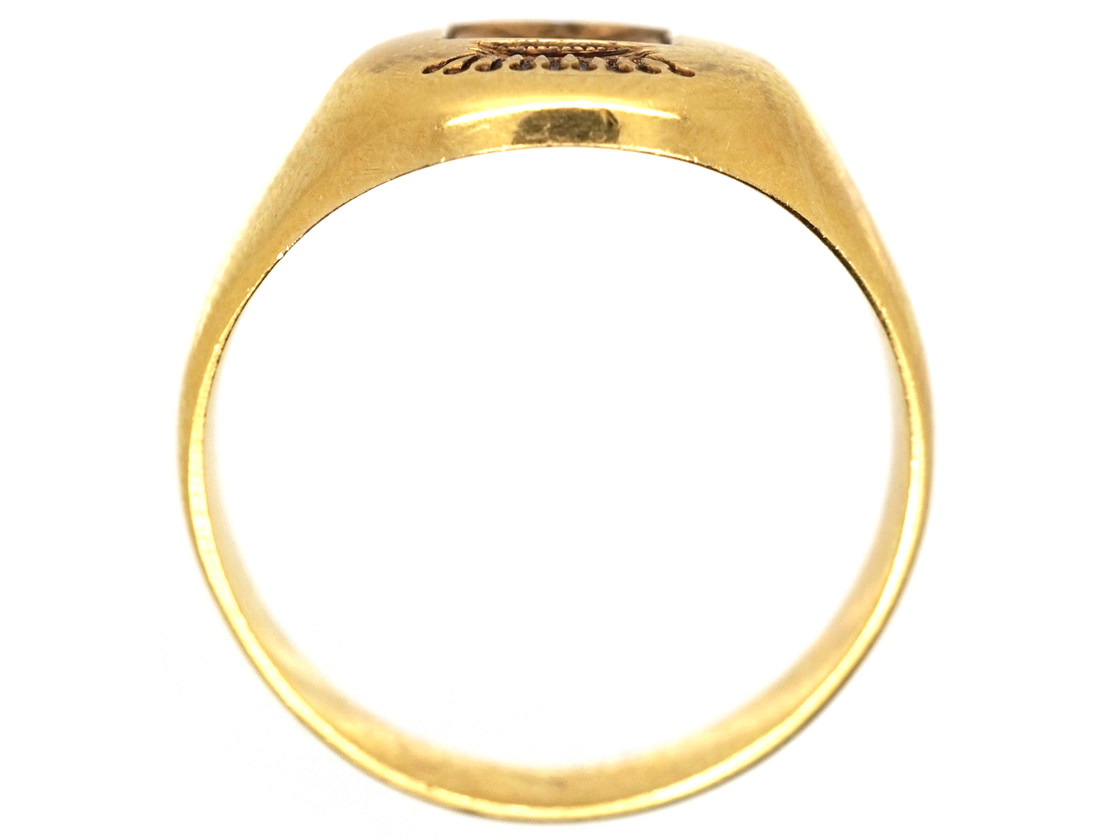French 18ct Gold Signet Ring With Engraved Crest