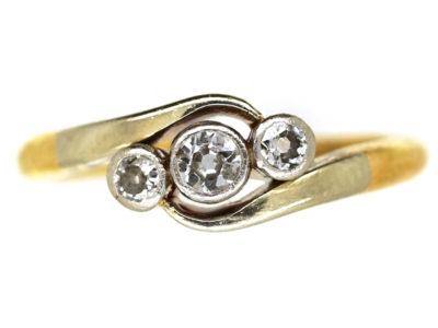 Edwardian 18ct Gold & Platinum, Diamond Three Stone Twist Ring