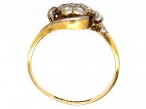 Edwardian 18ct Gold & Platinum, Diamond Cluster & Twist Ring