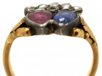 Georgian Ruby & Sapphire Double Heart Ring With Diamond Set Crown Top