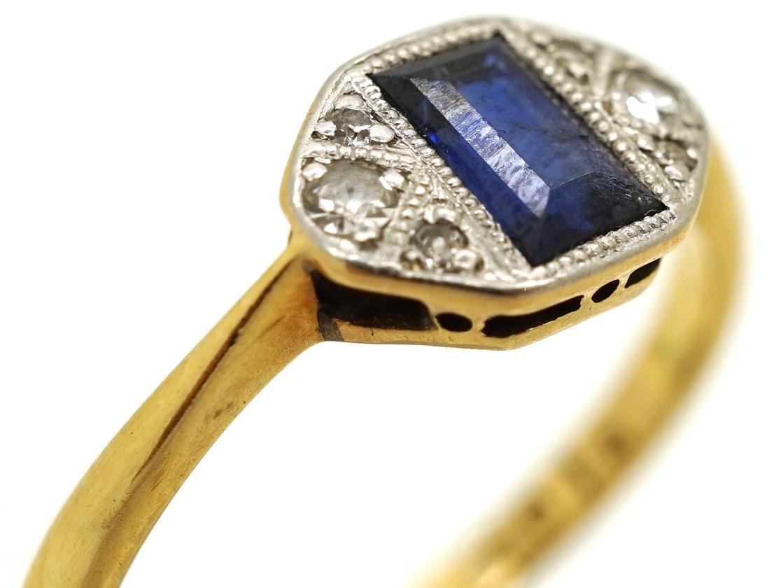 Art Deco 18ct Gold & Platinum Rectangular Sapphire & Diamond Ring