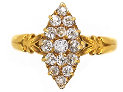 Victorian Marquise Shaped Diamond Set 18ct Gold Ring