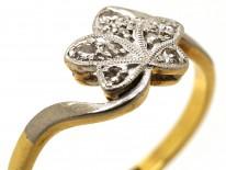 Edwardian 18ct Gold & Platinum Diamond Set Ivy Leaf Ring