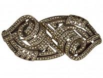 Art Deco Silver & Marcasite Double Clip Brooch