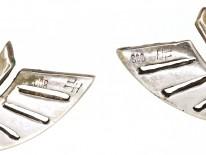 Art Deco Silver Clip On Wing Earrings