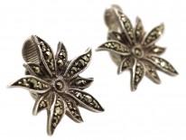 Silver & Marcasite Flower Clip On Earrings