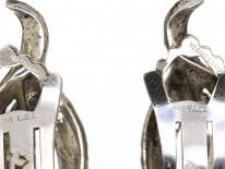 Art Deco Silver & Marcasite Cross Over Clip On Earrings