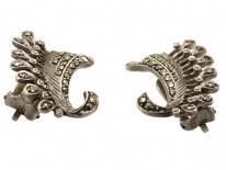 Art Deco Silver & Marcasite Clip On Wing Earrings
