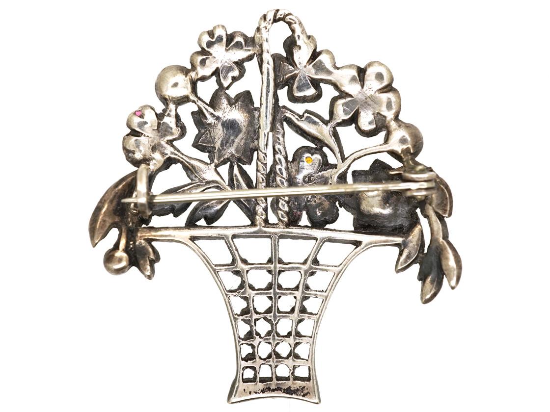 Edwardian Silver, Marcasite & Coloured Paste Flower Basket Brooch