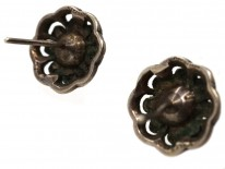 Silver, Paste Pearl & Marcasite Round Earrings
