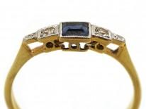 Art Deco Diamond & Square Cut Sapphire Ring