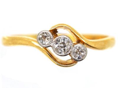 Edwardian 18ct Gold , Platinum & Diamond Three Stone Crossover RIng