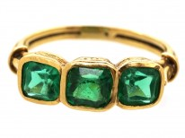 Edwardian 18ct Gold, Three Stone Emerald Ring