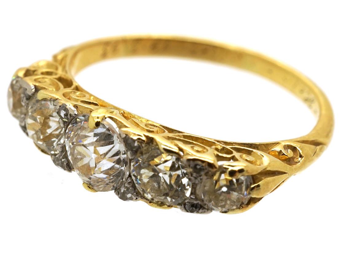 Victorian Five Stone Carved Diamond Half Hoop Ring