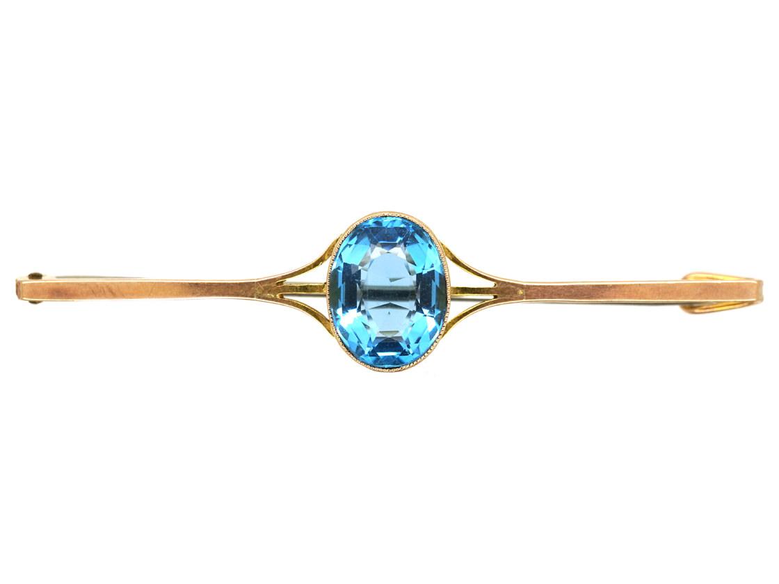 Art Deco 9ct Gold & Blue Paste Brooch