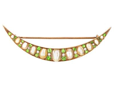 Edwardian Diamond Green Garnet & Pearl Crescent Brooch