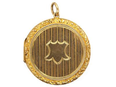 Edwardian 9ct Gold Round Locket With Cartouche