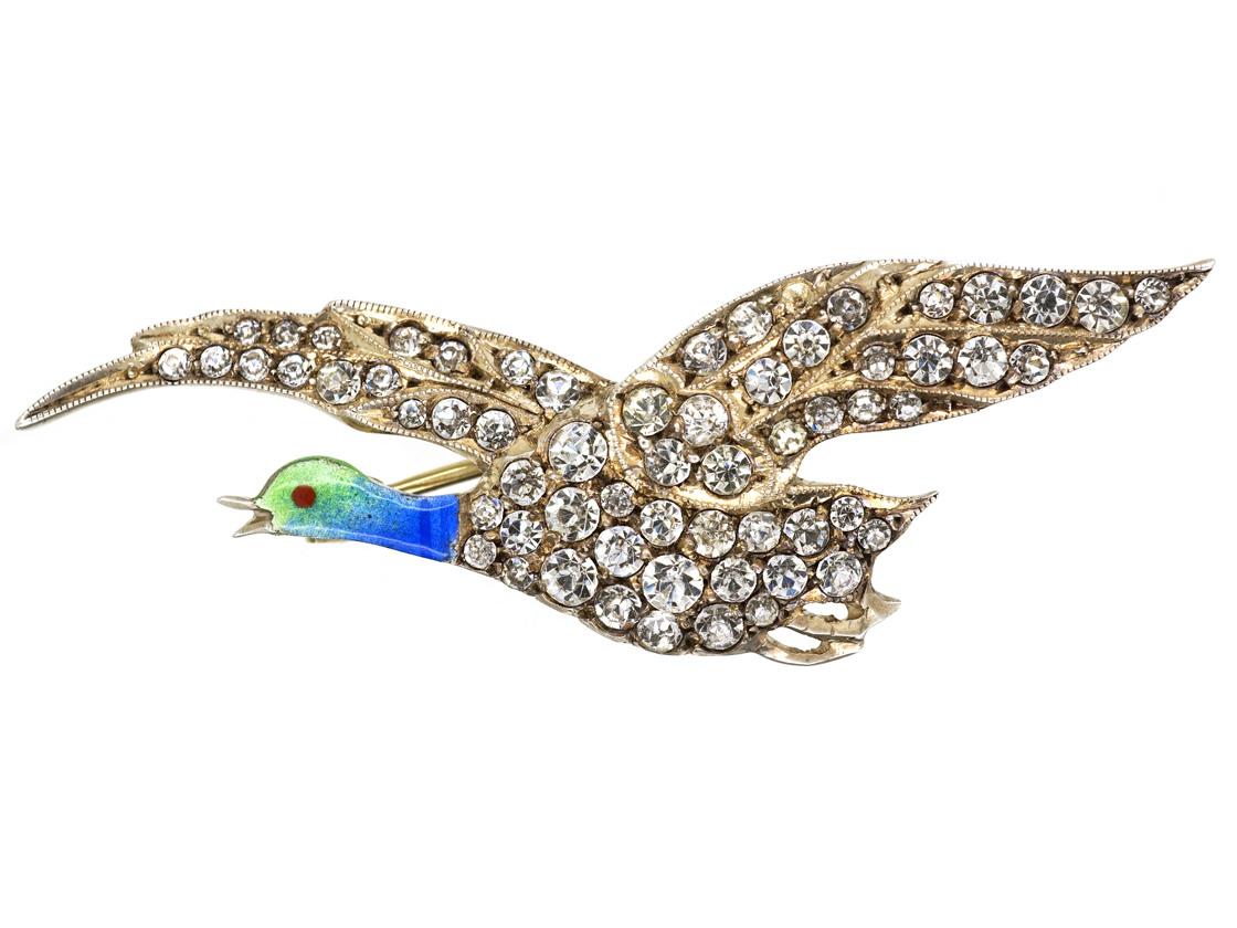 Edwardian Silver, Paste & Enamel Flying Duck Brooch
