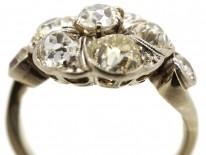 French Platinum & Diamond Swirly Cluster Ring