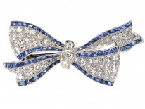Art Deco Platinum, Sapphire & Diamond Bow Brooch