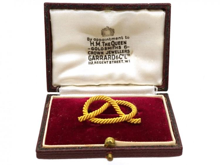 Edwardian 18ct Gold Lover's Knot Brooch in Garrard's Case
