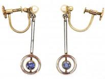 Art Deco Sapphire & Pearl Drop Earrings