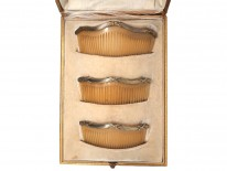Edwardian Set of Three Silver Gilt & Horn Combs in Original Case