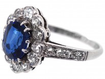Sapphire & Diamond Oval Cluster Ring With Diamond Shoulders