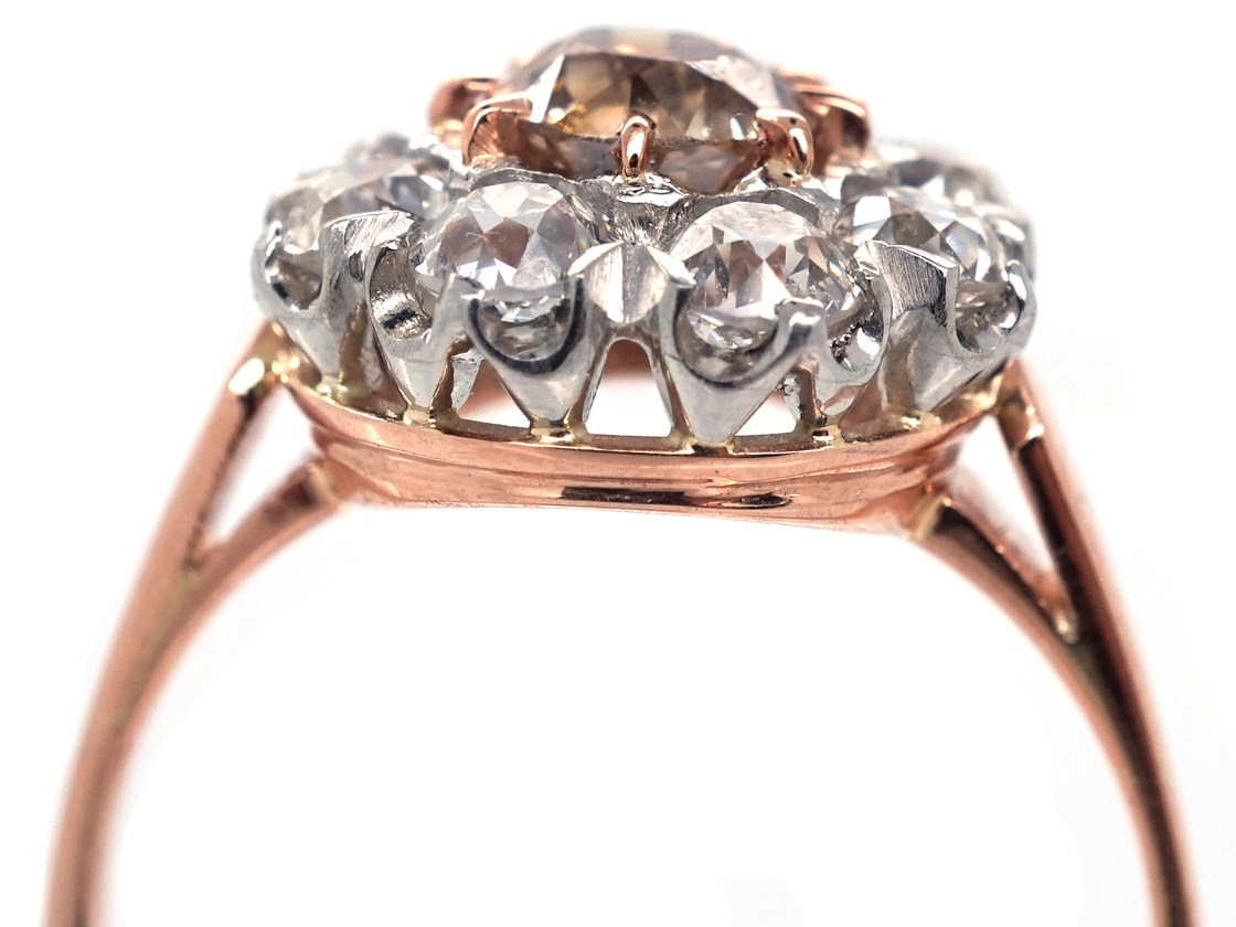 Fancy Champagne Diamond Cluster Ring