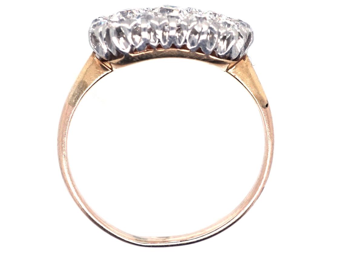Edwardian 18ct Gold & Platinum, Oval Diamond Cluster Ring