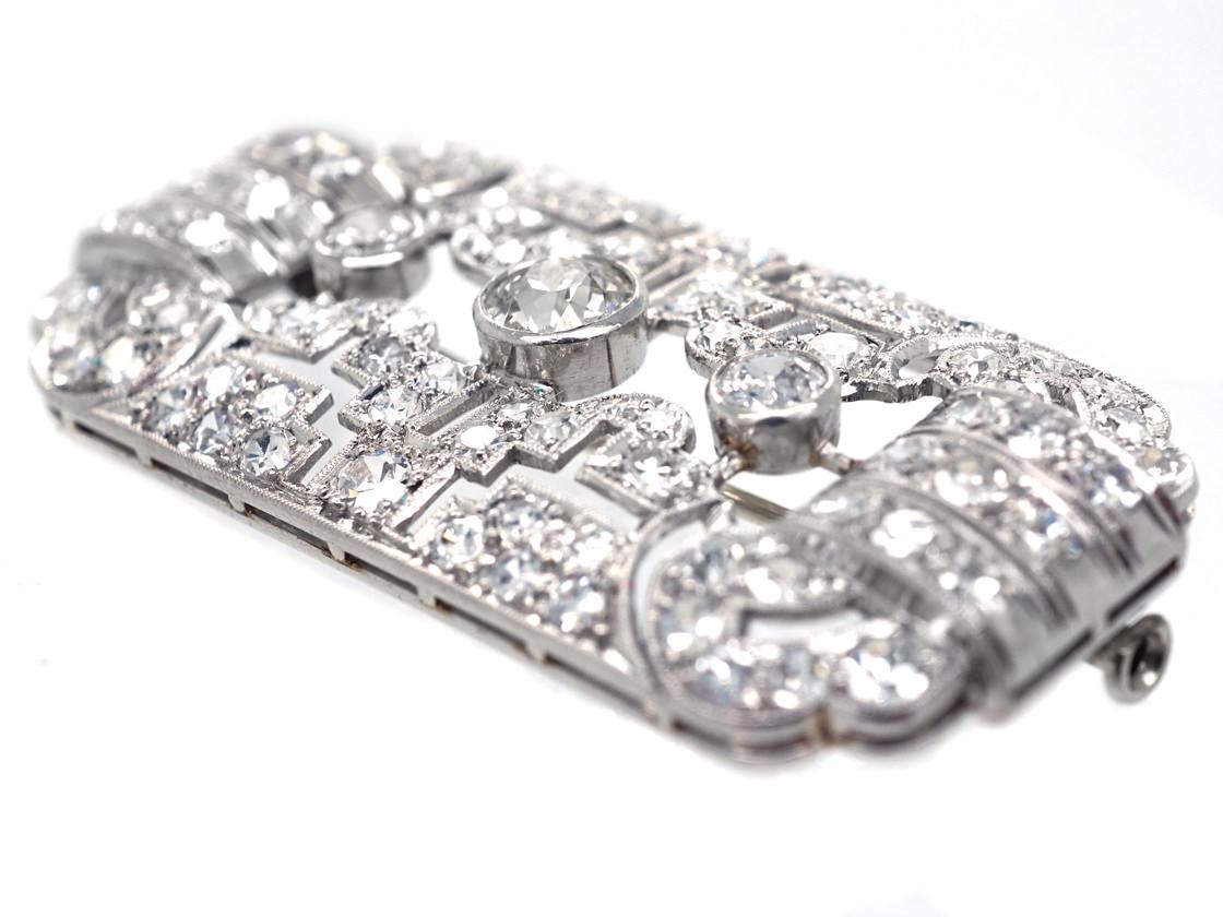 Art Deco Rectangular Platinum & Diamond Brooch