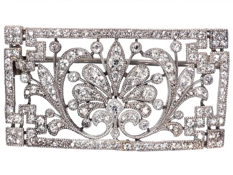 Edwardian Platinum & Diamond Rectangular Brooch