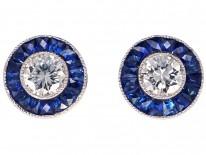 Diamond , Sapphire & Platinum Target Earrings