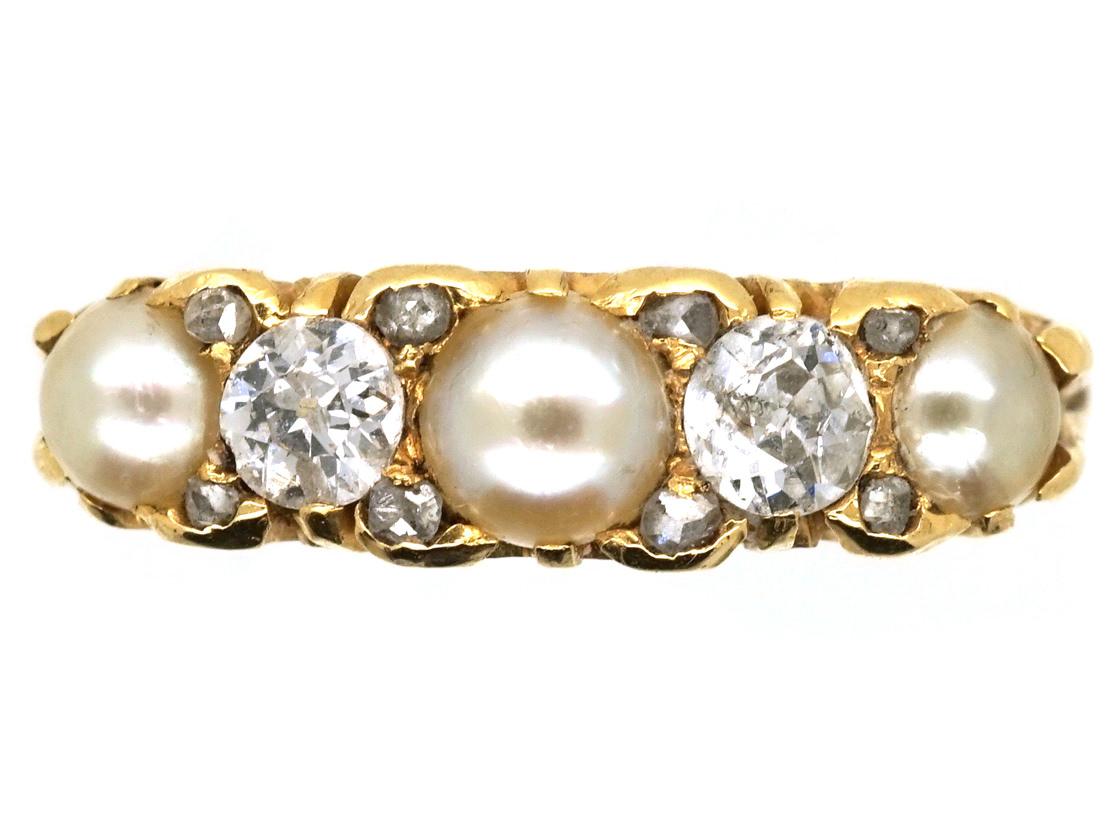 Victorian 18ct Gold, Natural Split Pearl & Diamond Five Stone Ring