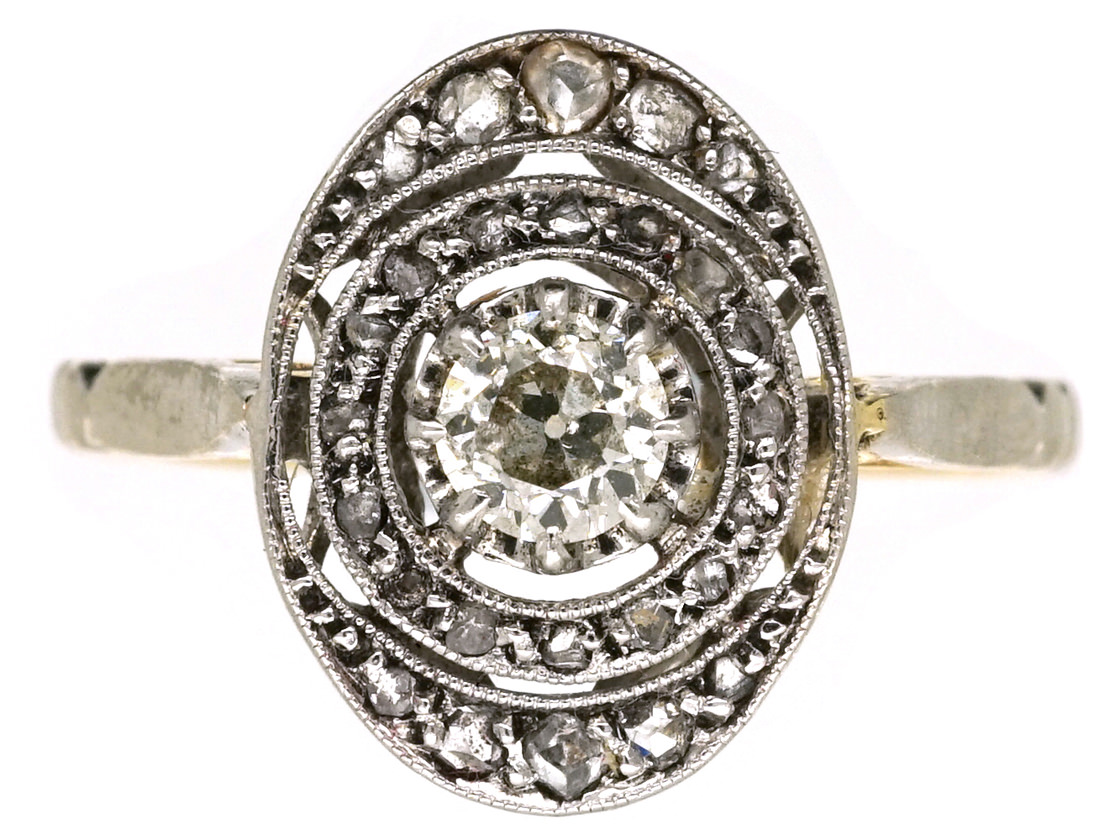 French 18ct Gold & Diamond Art Deco Oval Ring