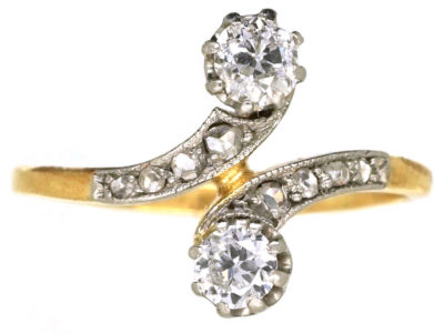 Art Nouveau 18ct Gold & Platinum, Two Stone Diamond Crossover Ring