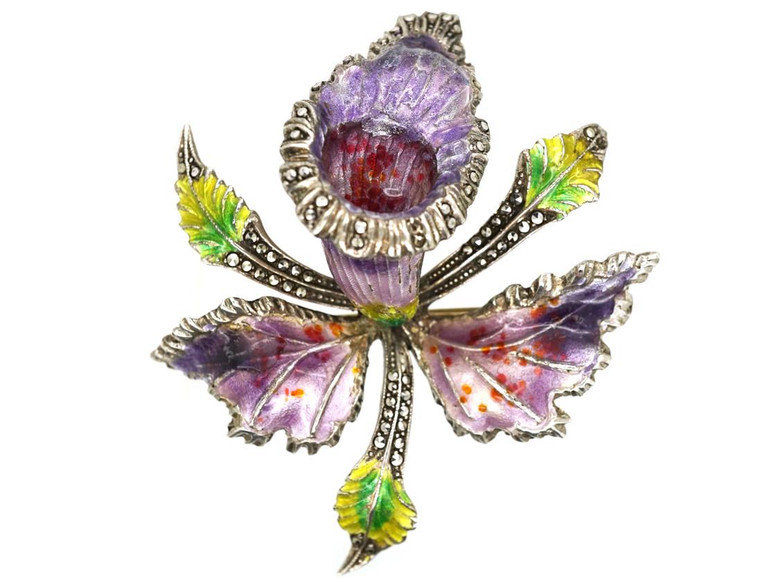 Silver, Marcasite & Enamel Orchid Brooch