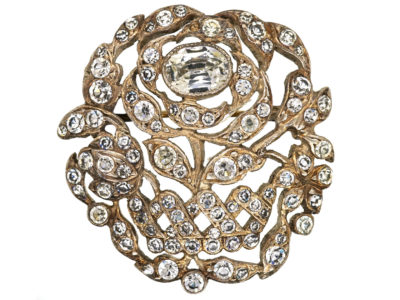Edwardian Silver & Paste Rose Brooch