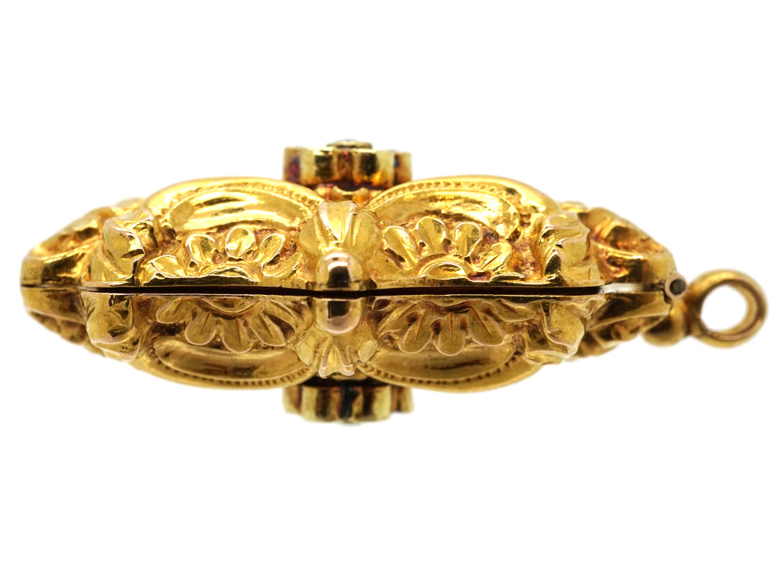 Late 18th Century French 18ct Gold, Garnet & Diamond Vinaigrette Pendant