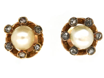 Edwardian Rose Diamond & Natural Pearl Round Earrings