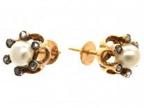 Edwardian Rose Diamond & Natural Pearl Round Earrings