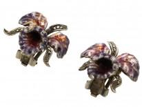 Silver, Marcasite & Enamel Orchid Earrings