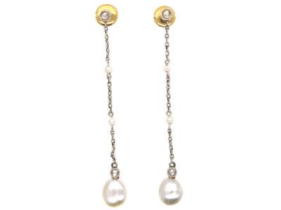 Edwardian Rose Diamond, Natural Pearl & Platinum Drop Earrings