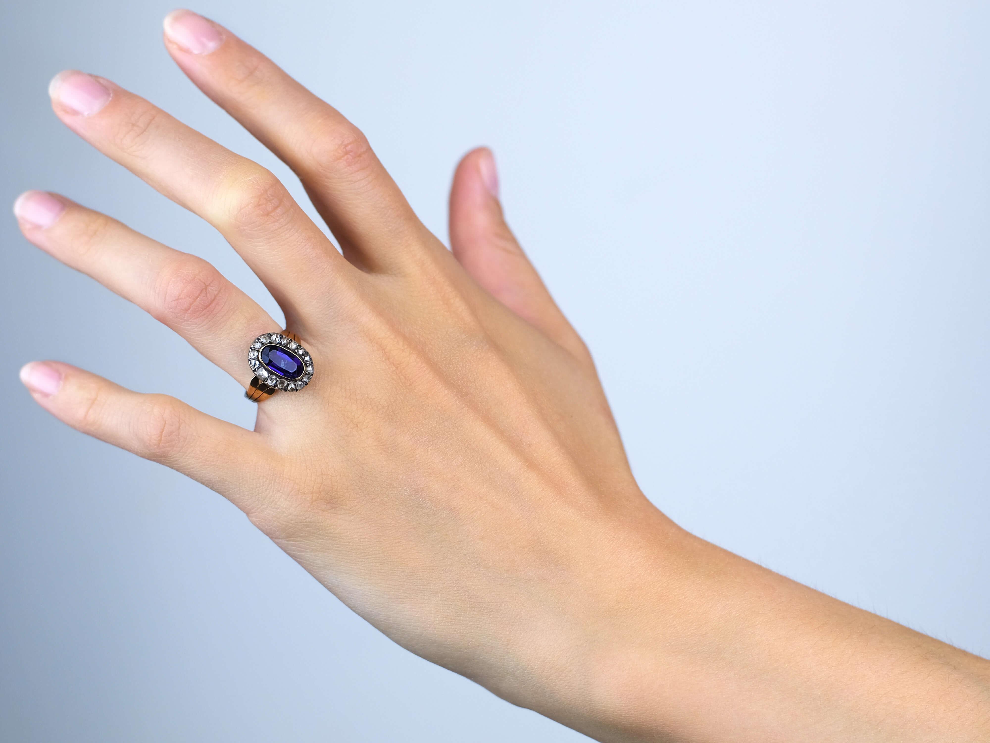 Georgian Oval Amethyst & Rose Diamond Ring