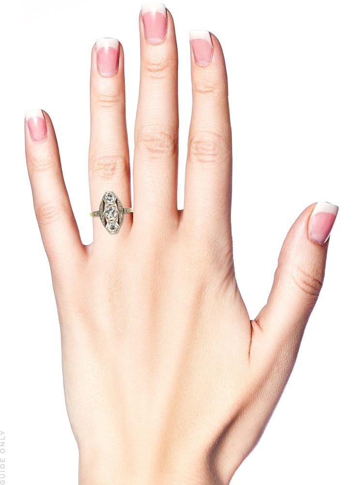 Art Deco Three Stone Diamond Ring
