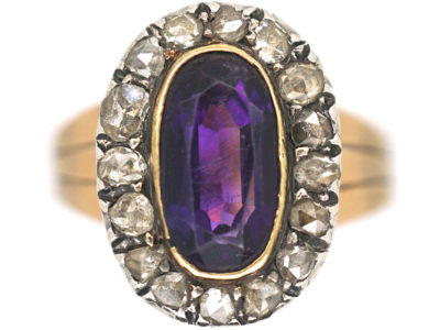 Georgian Oval Amethyst & Rose Diamond Ring