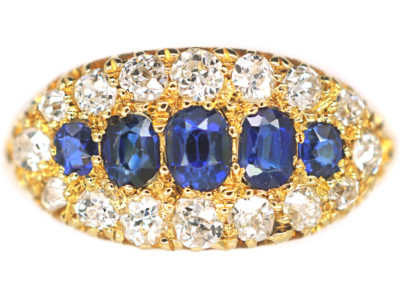 Victorian 18ct Gold Boat Shaped Sapphire Diamond Ring