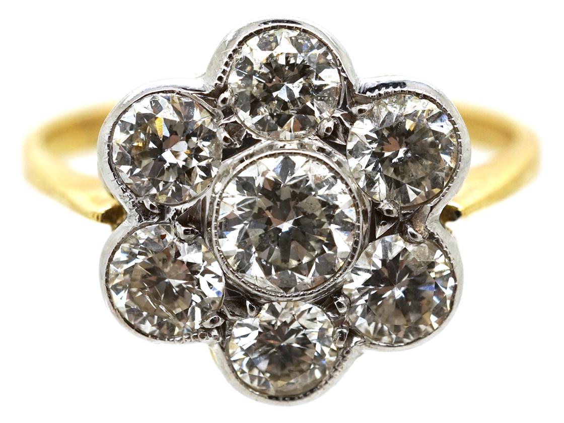 Austrian 14ct White Gold Diamond Cluster Ring