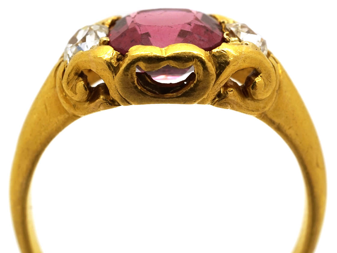 Victorian Natural Pink Spinel & Diamond Ring
